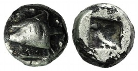 Mysia, Kyzikos, c. 550-480 BC. AR Obol (7mm, 0.82g). Head of tunny r. R/ Rough incuse square. SNG BnF 356. Good Fine