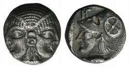 Mysia, Lampsakos, c. 500-450 BC. AR Obol (8mm, 0.86g, 3h). Female janiform head. R/ Helmeted head of Athena l. within incuse square; HΓ monogram to l....