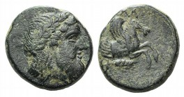 Mysia, Lampsakos, c. 4th century BC. Æ (15.5mm, 4.14g, 12h). Laureate head of Zeus r. R/ Forepart of pegasos r.; below, ear of grain r. SNG BnF -; SNG...