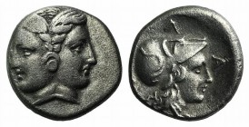 Mysia, Lampsakos, 4th-3rd centuries BC. AR Tetrobol (12mm, 2.41g, 12h). Janiform female head. R/ Head of Athena r., wearing crested Corinthian helmet....