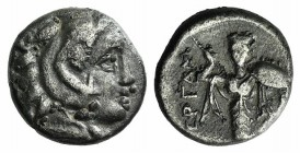 Mysia, Pergamon, c. 310-282 BC. AR Diobol (9mm, 1.03g, 12h). Head of Herakles r., wearing lion skin. R/ Athena Promachos standing facing. SNG BnF 1558...