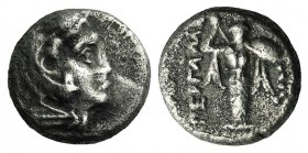 Mysia, Pergamon, c. 310-282 BC. AR Diobol (9mm, 1.17g, 12h). Head of Herakles r., wearing lion skin. R/ Athena Promachos standing facing. SNG BnF 1558...