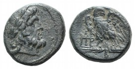 Mysia, Pergamon, c. 200-133 BC. Æ (18mm, 5.73g, 1h). Laureate head of Asklepios r. R/ Eagle standing l. on thunderbolt, head r., wings spread; monogra...