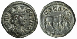 Troas, Alexandria. Pseudo-autonomous issue, c. mid 3rd century AD. Æ (21mm, 6.03g, 12h). Turreted and draped bust of Tyche r., with vexillum over shou...