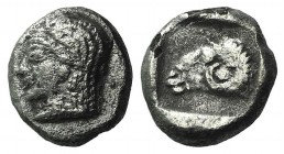 Troas, Kebren, c. 5th century BC. AR Diobol (8mm, 1.13g, 6h). Female head l. R/ Ram's head l. within incuse square. SNG von Aulock 1546. Porous, Good ...