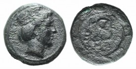 Troas, Zeleia, c. 4th century BC. Æ (10mm, 1.35g, 12h). Head of Artemis r., wearing stephanos. R/ Monogram (or torque) within grain-wreath. SNG Copenh...