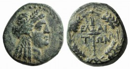 Aeolis, Elaia, c. 2nd-1st century BC. Æ (16mm, 4.72g, 12h). Head of Demeter r., wearing grain wreath. R/ Torch within grain wreath. BMC 23. Green pati...