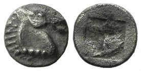 Aeolis, Kyme, c. 480-450 BC. AR Tetartemorion (5mm, 0.24g). Horse head r. R/ Quadripartite incuse square. Klein 332. Good VF