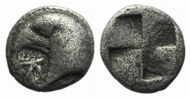Aeolis, Kyme, c. 450-400 BC. AR Hemiobol (6mm, 0.46g). Head of eagle l.; K to l. R/ Quadripartite incuse square. Klein 333; SNG Copenhagen 31. Near VF