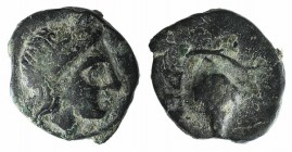 Aeolis, Temnos, 3rd-2nd centuries BC. Æ (8mm, 0.61g, 9h). Laureate head of Apollo r. R/ Grape bunch within vine. Cf. SNG Copenhagen 258 (larger unit)....