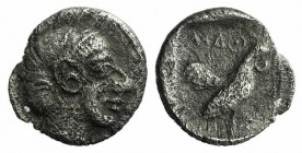 Lesbos, Methymna, c. 500/480-460 BC. AR Hemiobol (5mm, 0.21g, 12h). Female head r., hair bound in sakkos. R/ Cock standing right within incuse square....