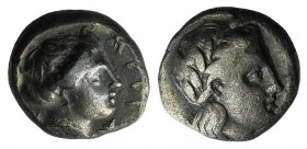 Lesbos, Mytilene, c. 400-350 BC. AR Diobol (9mm, 1.33g, 11h). Laureate head of Apollo r. R/ Female head r.; thunderbolt behind. BMC 9; HGC 6, 1037. Ne...