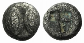 Lesbos, Unattributed early mint, c. 525-513 BC. BI Forty-eighth Stater (5mm, 0.33g). Two eyes or barley-corns. R/ Incuse square. HGC 6, 1074. Rare, ne...