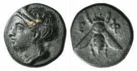 Ionia, Ephesos, c. 375 BC. Æ (9mm, 1.11g, 12h). Female head l. R/ Bee. SNG Copenhagen 256; SNG von Aulock 1839. Green patina, VF