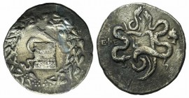 Ionia, Ephesos, c. 180-67 BC. AR Cistophoric Tetradrachm (28mm, 12.37g, 12h). Cista mystica within ivy wreath. R/ Two serpents entwined around bow and...