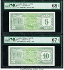 Aruba Banco Central 5; 10 Florin 1.1.1986 Pick 1; 2 PMG Superb Gem Unc 67 EPQ; Superb Gem Unc 68 EPQ.   HID09801242017  © 2020 Heritage Auctions | All...