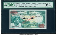 Belgian Congo Banque Centrale du Congo Belge 20 Francs 1.6.1959 Pick 31s Specimen PMG Choice Uncirculated 64Net. Previously mounted and cancelled with...