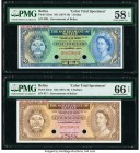 Belize Government of Belize 1; 5 Dollar/s ND (1974-76) Pick 33cts; 35cts Two Color Trial Specimen PMG Choice About Unc 58 EPQ; Gem Uncirculated 66 EPQ...
