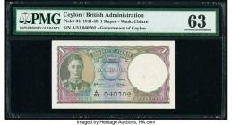 Ceylon Government of Ceylon 1 Rupee 12.7.1944 Pick 34 PMG Choice Uncirculated 63.   HID09801242017  © 2020 Heritage Auctions | All Rights Reserved