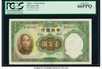 China Central Bank of China 100 Yüan 1936 Pick 220a S/M#C300-104a PCGS Gem New 66PPQ.   HID09801242017  © 2020 Heritage Auctions | All Rights Reserved...