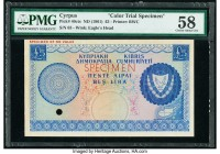 Cyprus Central Bank of Cyprus 5 Pounds ND (1961) Pick 40cts Color Trial Specimen PMG Choice About Unc 58. Cancelled with one punch hole and previously...