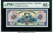 El Salvador Banco Occidental 1 Colon 1.1.1929 Pick S192s Specimen PMG Gem Uncirculated 65 EPQ. Cancelled with 3 punch holes.   HID09801242017  © 2020 ...