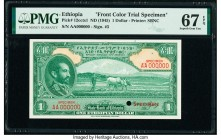 Ethiopia State Bank of Ethiopia 1 Dollar ND (1945) Pick 12ccts1 Front Color Trial Specimen PMG Superb Gem Unc 67 EPQ. Cancelled with one punch hole.  ...