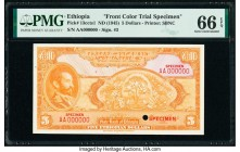Ethiopia State Bank of Ethiopia 5 Dollars ND (1945) Pick 13ccts1 Front Color Trial Specimen PMG Gem Uncirculated 66 EPQ. Cancelled with one punch hole...