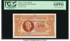 France Tresor Central 500 Francs ND (1944) Pick 106s Specimen PCGS Currency Very Choice New 64PPQ. Perforated cancelled.   HID09801242017  © 2020 Heri...
