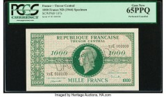France Tresor Central 1000 Francs ND (1944) Pick 107s Specimen PCGS Currency Gem New 65PPQ. Perforated cancelled.   HID09801242017  © 2020 Heritage Au...