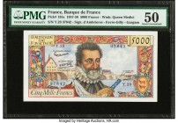 France Banque de France 5000 Francs 3.10.1957 Pick 135a PMG About Uncirculated 50. Pinholes.  HID09801242017  © 2020 Heritage Auctions | All Rights Re...