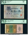 Germany Imperial Bank Notes 100 Mark 8.6.1907 Pick 30 PCGS Very Fine 25. Germany Imperial Bank Note 10 Billionen Mark 1.2.1924 Pick 137 PCGS Very Fine...