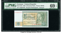 Germany Federal Republic Bundeskassenschein 5 Deutsche Mark 1.7.1963 Pick 29A PMG Superb Gem Uncirculated 69 EPQ.   HID09801242017  © 2020 Heritage Au...