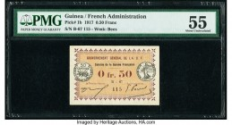 Guinea Gouvernement General de l'Afrique 0.50 Franc 11.2.1917 Pick 1b PMG About Uncirculated 55. Pinholes.   HID09801242017  © 2020 Heritage Auctions ...