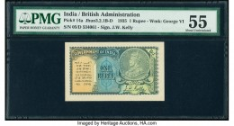 India Government of India 1 Rupee 1935 Pick 14a Jhun3.2.1B-D PMG About Uncirculated 55. Spindle hole at issue.  HID09801242017  © 2020 Heritage Auctio...