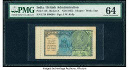 India Government of India 1 Rupee 1935 Pick 14b Jhun3.2.1A PMG Choice Uncirculated 64. Staple holes at issue.  HID09801242017  © 2020 Heritage Auction...