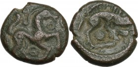 Celtic World. Northeast Gaul, Ambiani. Pseudo-autonomous issue. Temp. of Trajan. AE 13 mm, circa 50-30 BC. Horse prancing right; torque before, pellet...