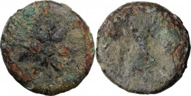Greek Italy. Etruria, uncertain mint. AE Uncia, 3rd century BC. Wheel with six spokes; pellet within. / Double axe; to right, pellet. HN Italy 59. AE....