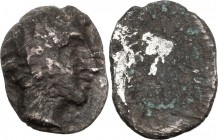 Greek Italy. Etruria, Populonia. AR Fourrée 2 1/2 Units, c. 400 BC. Head of young male. / Blank. HN Italy 121. AR. 0.75 g. 10.50 mm. About VF.