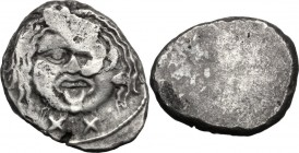 Greek Italy. Etruria, Populonia. AR 20-Asses, 3rd century BC. Facing head of Metus, hair bound with diadem; below, XX. / Blank. HN Italy 152; Vecchi E...