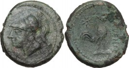 Greek Italy. Samnium, Southern Latium and Northern Campania, Cales. AE 20 mm. c. 265-240 BC. Helmeted head of Athena left. / Cock standing right; befo...
