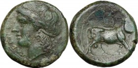 Greek Italy. Samnium, Southern Latium and Northern Campania, Cales. AE 20 mm, 265-240 BC. Head of Apollo left, laureate. / Man-headed bull right; abov...