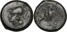 Greek Italy. Samnium, Southern Latium and Northern Campania, Teanum Sidicinum. AE 20 mm, 265-240 BC. Head of Athena left, helmeted. / Cock standing ri...