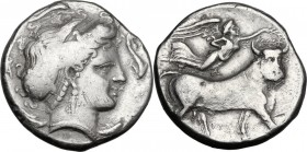 Greek Italy. Central and Southern Campania, Neapolis. AR Didrachm, c. 300 BC. Head of nymph right, surrounded by dolphins. / Man-headed bull right; ab...
