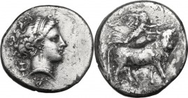 Greek Italy. Central and Southern Campania, Neapolis. AR Didrachm, circa 300 BC. Head of nymph right; kantharos behind, XA below. / Man-headed bull wa...