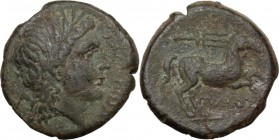 Greek Italy. Northern Apulia, Salapia. AE 20 mm, 225-210 BC. Head of Apollo right, laureate. / Horse walking right; above, trident. HN Italy 692a. AE....