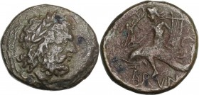 Greek Italy. Southern Apulia, Brundisium. AE Sextans, 215 BC. Head of Poseidon right, laureate. / Dolphin rider left, holding Nike and lyre. HN Italy ...