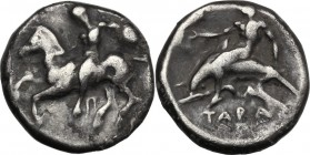 Greek Italy. Southern Apulia, Tarentum. AR Nomos, 380-340 BC. Horseman dismounting left, holding round shield. / Phalantos riding on dolphin left, ext...