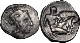 Greek Italy. Southern Apulia, Tarentum. AR Diobol, 325-280 BC. Head of Athena right, helmeted. / Herakles kneeling right, holding club lowered and fig...