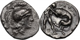 Greek Italy. Southern Apulia, Tarentum. AR Diobol, 280-228 BC. Head of Athena right, helmeted. / Herakles standing right, strangling lion; between leg...